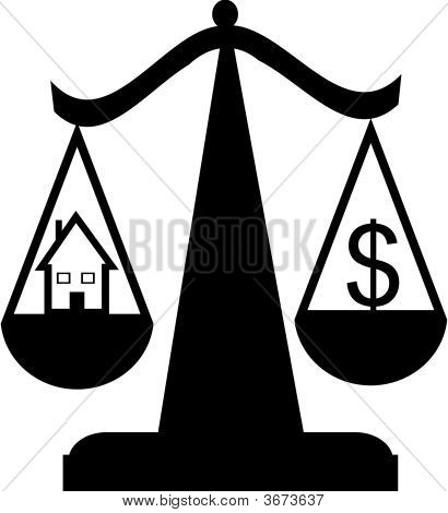 Scales Of Justice With House And Dollar Sign
