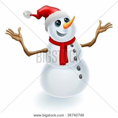 Christmas Snowman Wearing Santa Hat
