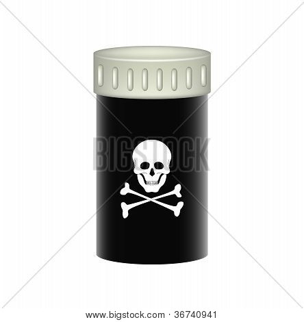 Medical container with danger sign (skull symbol)