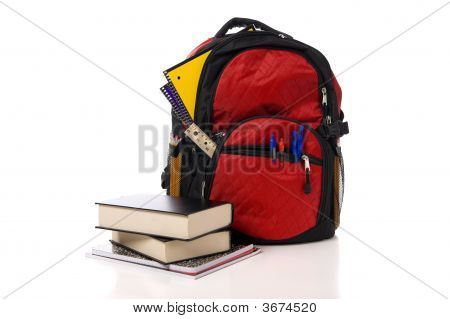 Red School Backpack With Books