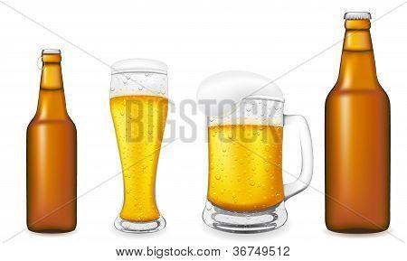 玻璃啤酒瓶矢量图