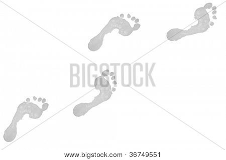 Four grey footprints against a white background