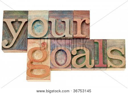your goals - isolated words in vintage letterpress wood type stained by color inks