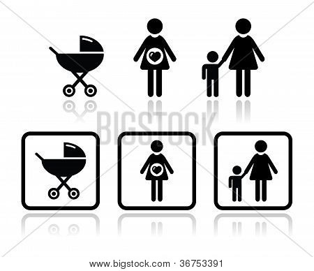 Baby icons set - carriage, pregnant woman, family