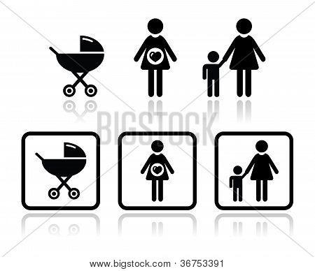 Bebé icons set - carro, embarazada, familia