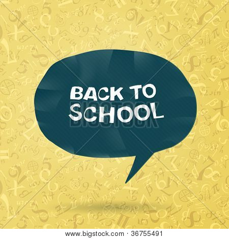 Back to school text in speech bubble on figures and formulas background. Raster version, vector file available in portfolio.