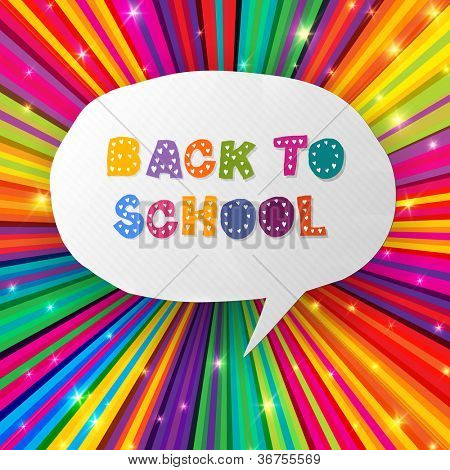 Back to school words in speech bubble on colorful rays. Raster version, vector file available in portfolio.