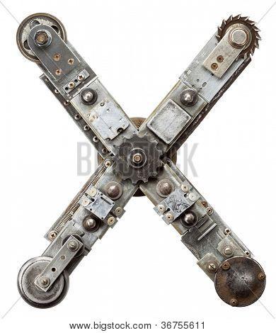Industrial metal alphabet letter X