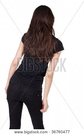back view of standing beautiful woman. Close up. Young brunette. rear view. Isolated over white background.