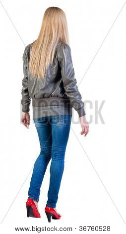 walking blonde woman. during a walk.  going girl back view . Rear view people collection.  backside view of person.  Isolated over white background.