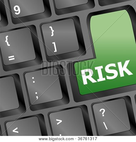 risk management key showing business insurance concept