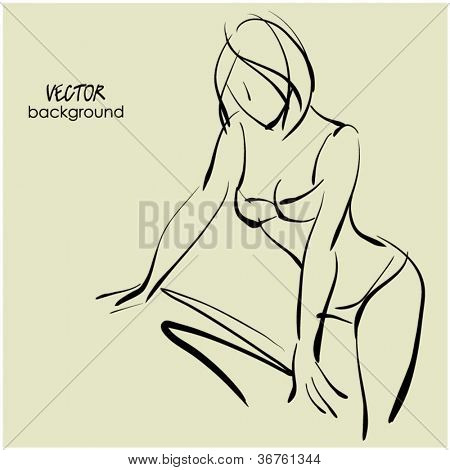 art sketching beautiful young  sexy woman