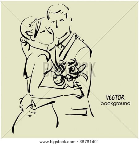 art sketching beautiful young  bride in white and groom with the bride's bouquet. Vector background with space for text.