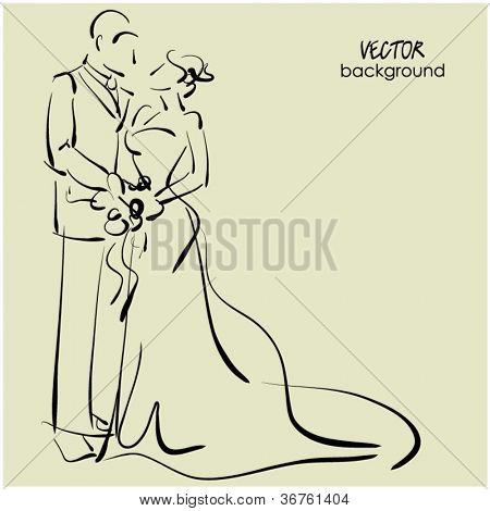 art sketching beautiful young  bride and groom with the bride's bouquet. Vector background with space for text.
