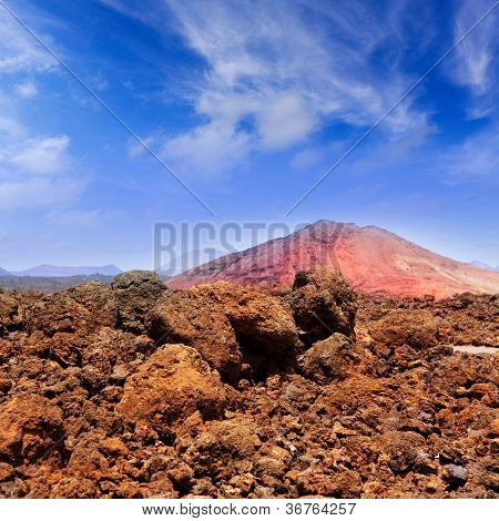 Lanzarote Montana Bermeja red mountain with volcanic lava stone