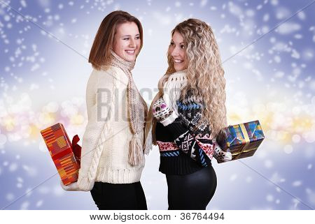Two Girlfriends With Chrisnmas Presents