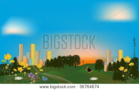 illustration with green park near rainbow color city