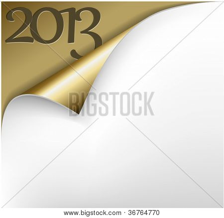 Vector Christmas New Year Card - Sheet of golden paper with a curl showing 2013