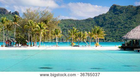 Panorama de playa perfecta con cocoteros en la Polinesia francesa