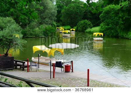Boats for walks around the lake
