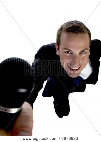 Businessman Showing His Mic