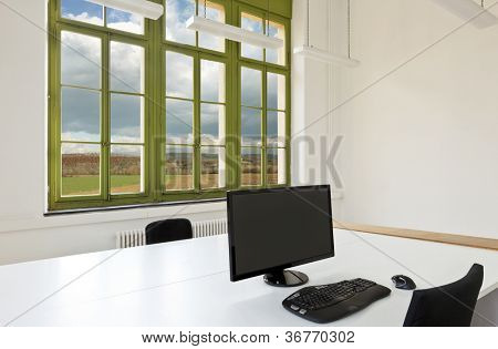 interior, office with furniture , view from window