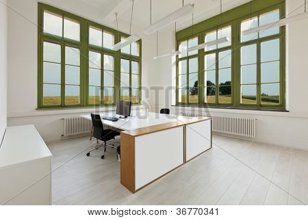 interior, office with furniture white, view from window