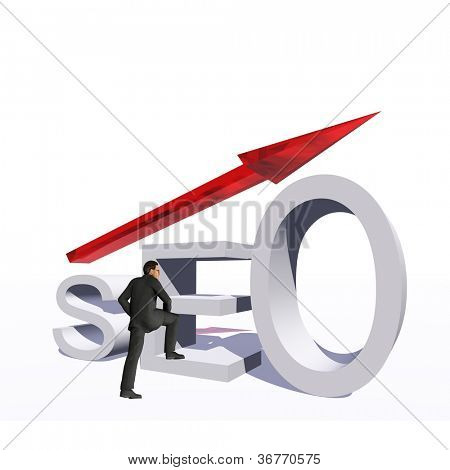 Concept or conceptual 3D red glass SEO symbol with arrow pointing up isolated on white background with businessman as a metaphor for business,website,optimize,strategy,success,traffic or information