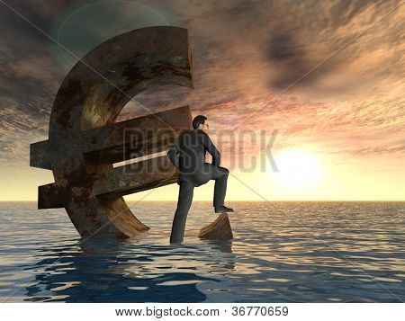 High resolution conceptual 3D currency euro sign or symbol sinking in water with a businessman in sea or ocean as a concept for European crisis or as a metaphor for financial,banking,economy at sunset
