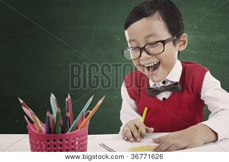 Happy Student Draw A Picture