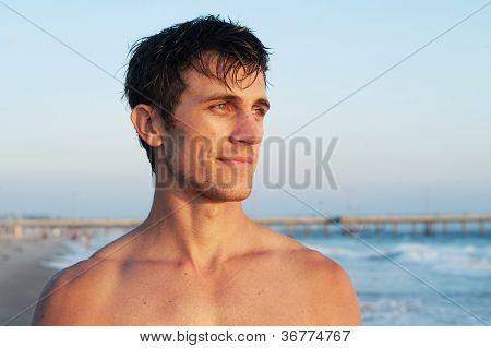 Active Young Man At The Beach