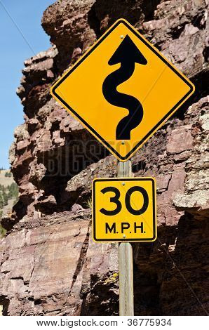 30 Mph Curves Sign