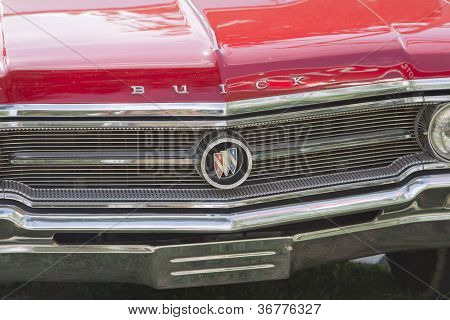 Vintage Red Buick Grill Close Up
