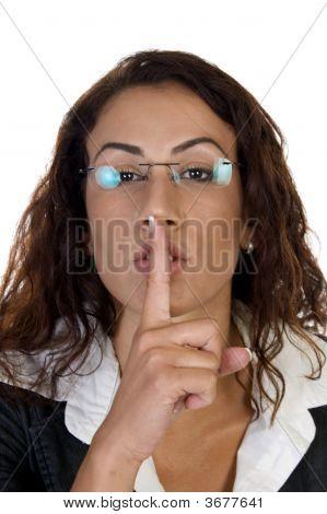 Woman Posing To Keep Silence