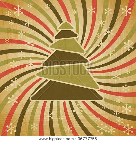 Vector vintage Christmas background in retro style.