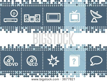 Blue Dots Bar With Home Electronics Icons