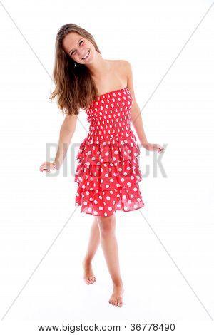 Beautiful Carefree Barefoot Teenager