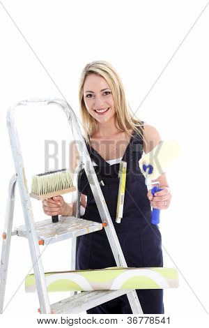 Happy Housewife Doing Diy