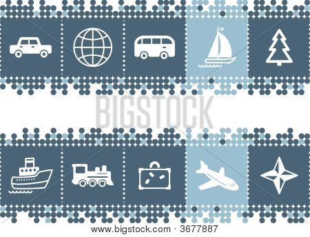 Blue Dots Bar With Travel Icons