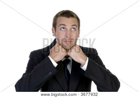 Man With Clenched Hand And Looking Upside