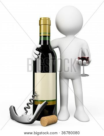 3D White People. Sommelier With A Bottle Of Red Wine