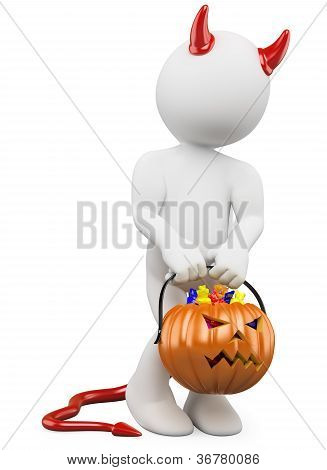 3D Halloween White People. Child Dressed As Devil With A Pumpkin Full Of Candy