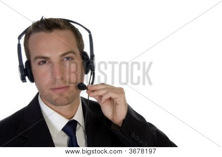 Young Businessman Adjusting His Headphone