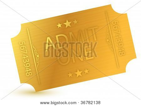 illustration of gold ticket over a white background