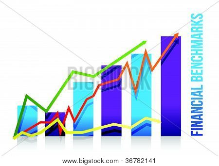 financial benchmarks chart illustration design over white