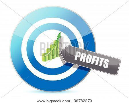 Business target profits graph illustration design over white