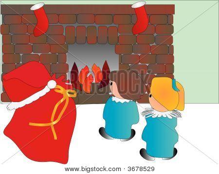 Children Waiting To Find Santa