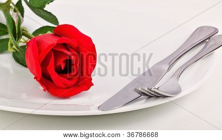 Dinner Plate With Red Rose And Silver Cutlery