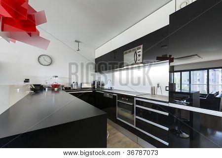 Modern Black And White Kitchen Interior