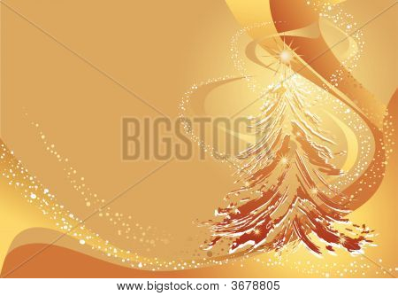 Christmas Gold Background With Christmas Tree